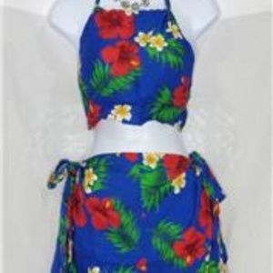 Other - TAHITI TIE WRAP BLUE RED FLORAL PRINT SARONG 2 PC